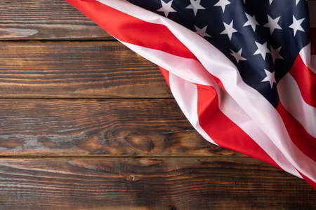 American flag on wooden background, space for text 版權商用圖片
