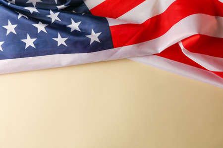 American flag as frame on beige background, space for text 版權商用圖片