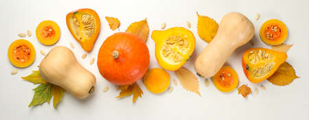 Composition with pumpkin, seeds and leaves on white background