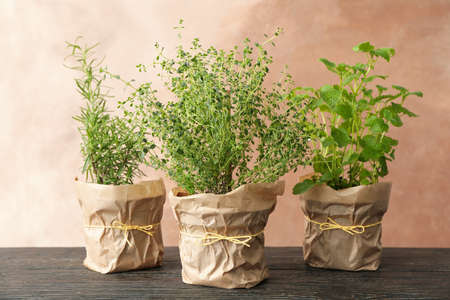 Different herbs on wooden table against brown background Stock Photo