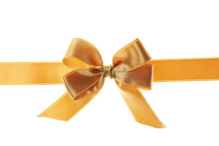 Gold gift bow isolated on white background