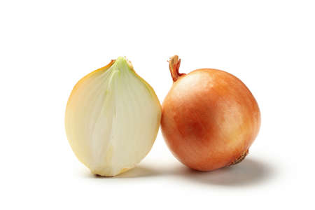 Natural raw onion isolated on white background