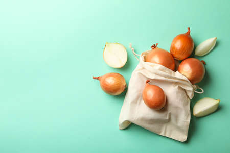 Bag with raw onion on mint background Banco de Imagens