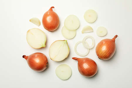 Fresh raw onion on white background, top view