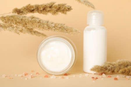 Concept of skincare cosmetics on beige background 免版税图像