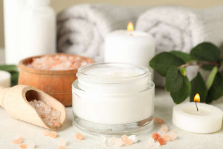 Concept of different spa accessories on white background