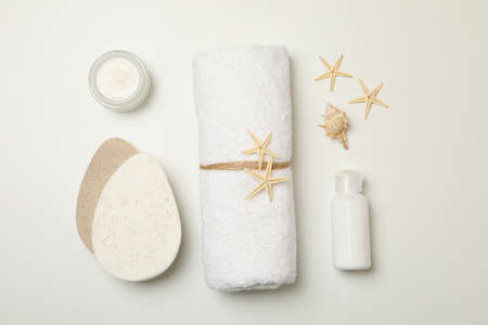 Spa cosmetics and accessories on white background 免版税图像