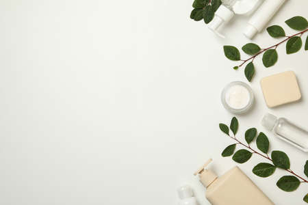 Spa cosmetic products and branches with leaves on white background, top view