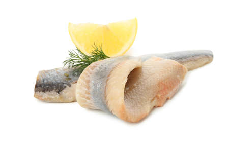 Fresh herring fish slices and spices isolated on white background Stockfoto
