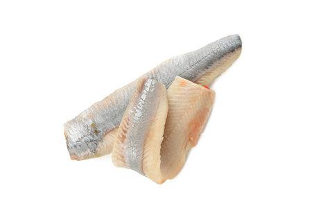 Fresh herring fish slices isolated on white background