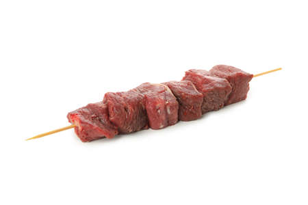 Skewer with raw meat isolated on white background Banco de Imagens