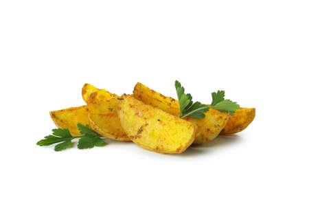 Potato wedges with parsley isolated on white background
