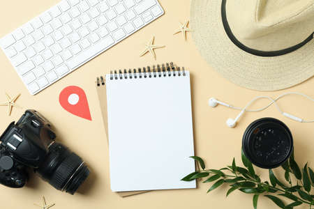 Travel concept on beige background, space for text 免版税图像