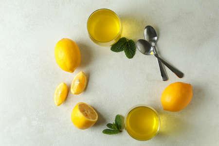 Concept of dessert with lemon jelly on white textured background 免版税图像