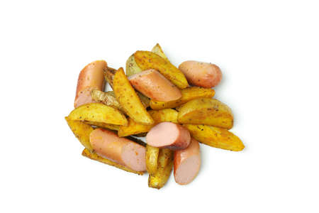 Potato wedges and fried sausage isolated on white background 免版税图像