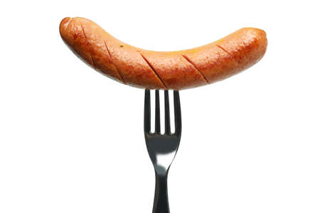 Fork with fried sausage isolated on white background 免版税图像