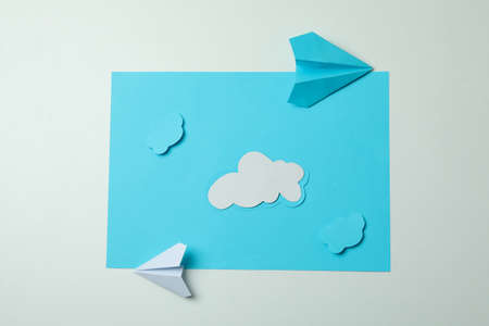 Travel concept with paper planes and clouds 免版税图像