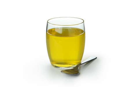 Glass of lemon jelly isolated on white background 免版税图像
