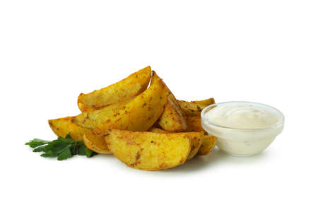 Potato wedges, sauce and parsley isolated on white background