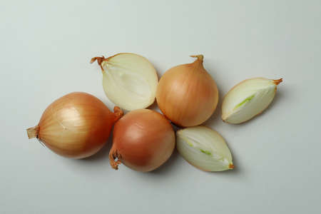 Group of fresh ripe onion, top view