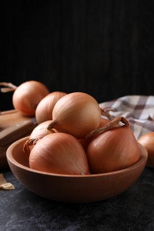 Board and bowl with fresh onion on black smokey table Standard-Bild