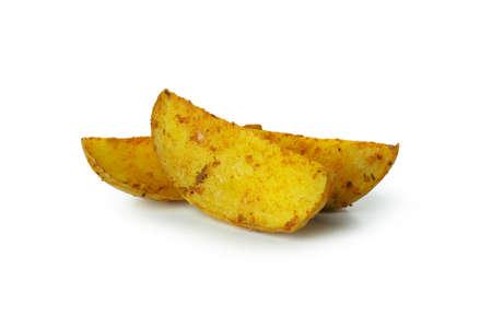 Tasty baked potato wedges isolated on white background