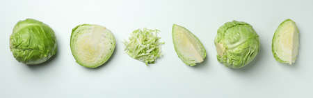 Fresh green cabbage on white background, top view