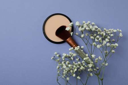 Blush, brush and gypsophila on violet background Standard-Bild