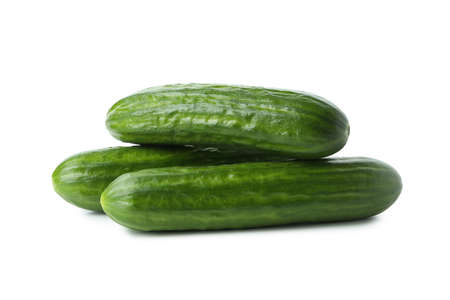 Fresh ripe cucumbers isolated on white background Banque d'images