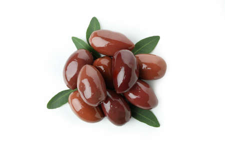 Red olives with leaves isolated on white background