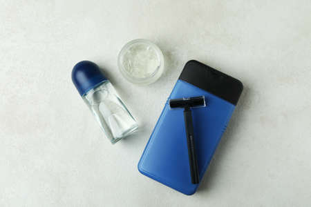 Concept of men's hygiene tools on white textured table 스톡 콘텐츠