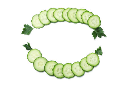 Ripe cucumber slices on white background, space for text