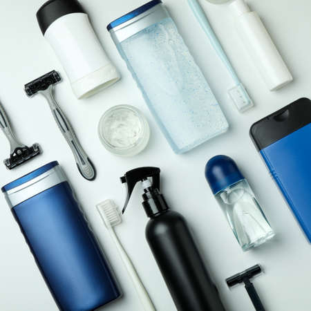 Concept of men's hygiene tools on white background Stock Photo