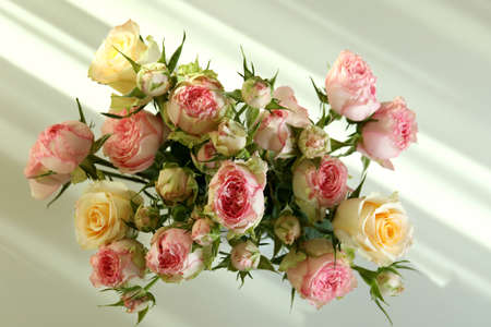 Bouquet of beautiful roses, top view and daylight