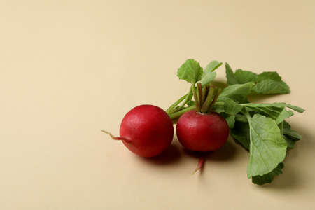 Fresh radish on beige background, space for text