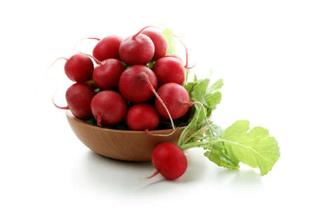 Bowl with red radish isolated on white background