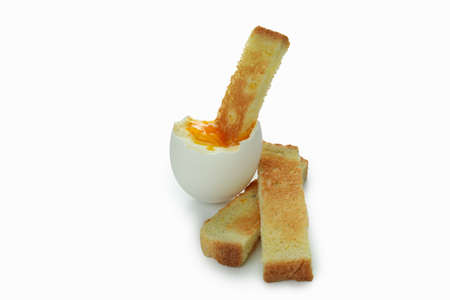 Tasty boiled egg with toast isolated on white background Banque d'images