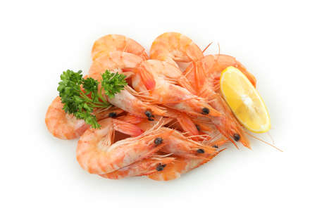 Tasty cooked shrimps isolated on white background