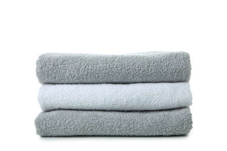 Stack of towels isolated on white background Zdjęcie Seryjne