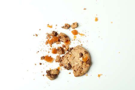 Tasty cookie with caramel on white background Stock Photo