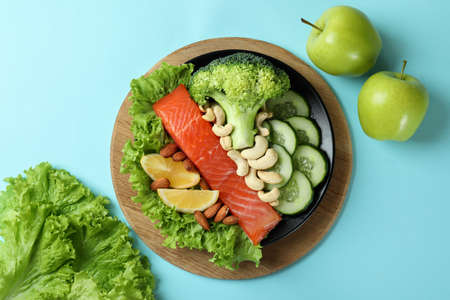 Healthy food on blue background, top view Imagens