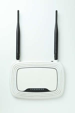 Wi-Fi router with external antennas on white background Stock Photo