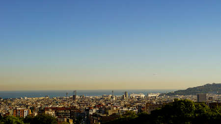 Antoni Gaudi's park looking over Barcelona, shore and see