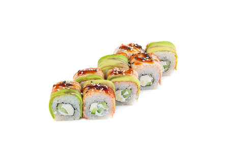Japanese rolls on a white background isolated Stock Photo