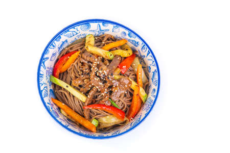 Korean dish with meat on white background Stockfoto