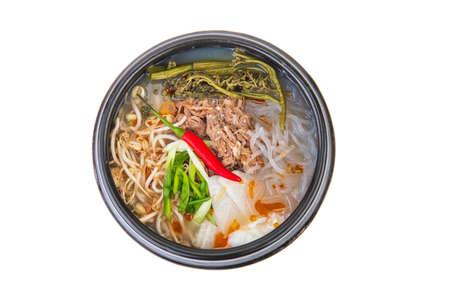 Korean noodles on a white background