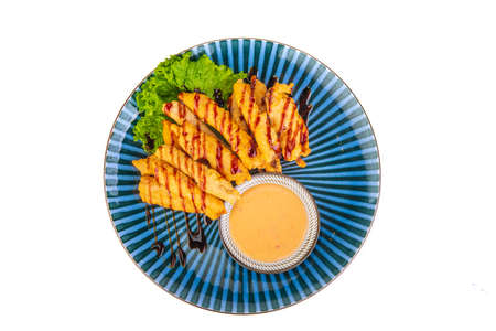 Korean dish with meat on white background Stock Photo