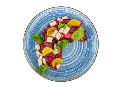 Salad with beetroot on a white background