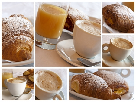 capuccino: Italian breakfast - collage Stock Photo