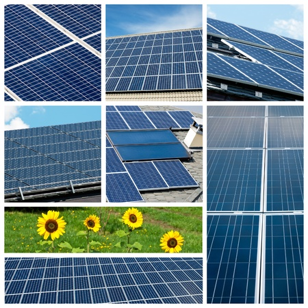 solar panel house: Solar panels collage Stock Photo